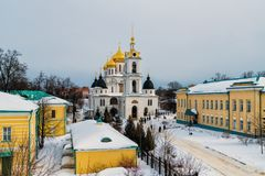 Antagandedomkyrka i Kreml av staden av Dmitrov, Ryssland Arkivbilder
