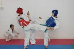 Antagonism training-Taekwondo training hall. In the Taekwondo training hall, the children are participating in various Taekwondo training activities to Stock Photography