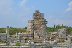 Antalya, Τουρκία, η αρχαία πόλη Perge, αρχαίοι ρωμαϊκοί χρόνοι και τα γεγονότα εδώ, στοιχεία των μεγάλων κανόνων της ζωής του ROM Στοκ εικόνες με δικαίωμα ελεύθερης χρήσης