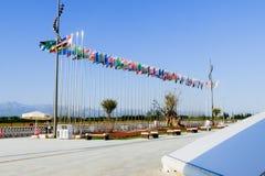 Antalya, Τουρκία - 9 Ιουλίου 2016 διαφορετικές σημαίες χωρών Στοκ Εικόνες