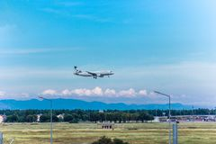 Antalya, το Μάιο του 2018 της Τουρκίας -18  Ο διεθνής αερολιμένας Antalya ο επιβάτης αεροπλάνου προσγειώνεται antalya Τουρκία Στοκ Εικόνα