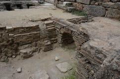 Antalya, die Türkei, die alte Stadt von Perge, die alten römischen Zeiten und die Tatsachen hier Stockfotografie