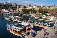 Antalya, Indyczy †'Luty, 2013 Widok nad Antalya schronieniem Obraz Stock