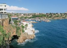 Antalya-Kaleici: Harbour and the old City Walls with the Mediterranian Sea, in Turkey Stock Images