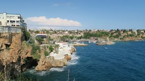 Antalya-Kaleici: Harbour and the old City Walls with the Mediterranian Sea, in Turkey Royalty Free Stock Photos