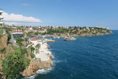 Antalya-Kaleici: Harbour and the old City Walls with the Mediterranian Sea, in Turkey Royalty Free Stock Photo
