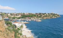 Antalya-Kaleici: Harbour and the old City Walls with the Mediterranian Sea, in Turkey Royalty Free Stock Photography
