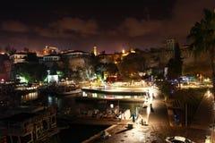 Antalya Kaleici på natten i Turkiet Arkivbilder