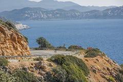 Antalya Kas-Patara droga pośrodku Obrazy Stock