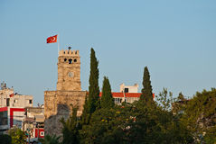 Antalya landmark. Clock tower in downtown Antalya Turkey. Turkish landmark Royalty Free Stock Images