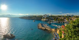 Antalya Marina Entrance With Sailboats And View To Open Sea Royalty Free Stock Photography