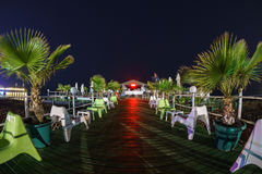 Antalya night. Beach with palms Royalty Free Stock Image