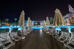 Antalya night. Beach with pool royalty free stock photography