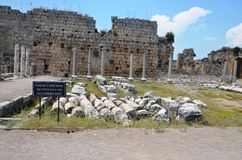 Antalya Perge ancient city, the agora, the ancient Roman Empire Royalty Free Stock Photo