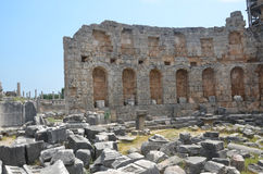 Antalya Perge ancient city, the agora, the ancient Roman empire, living space, spectacular pillars and history Royalty Free Stock Photo