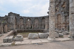 Antalya Perge ancient city, the agora, the ancient Roman empire, living space, spectacular pillars and history Stock Images