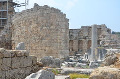 Antalya Perge ancient city, the agora, the ancient ruins of the Roman Empire. Where excavations continue Royalty Free Stock Photos