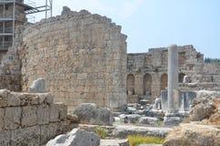 Antalya Perge fördärvar den forntida staden, marknadsplatsen, det forntida av Roman Empire Royaltyfria Foton