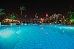 Antalya Pool. At night blue water Royalty Free Stock Photo