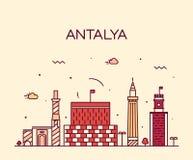 Antalya skyline vector illustration linear style Stock Images