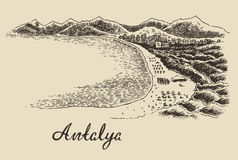Antalya skyline vintage engraved vector hand drawn Stock Images
