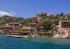 Antalya, Turkey - April 26, 2014: Kalekoy village on the Turkish island of Kekova Stock Photography
