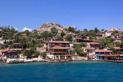 Antalya, Turkey - April 26, 2014: Kalekoy village on the Turkish island of Kekova Stock Image