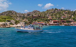 Antalya, Turkey - April 26, 2014: Kalekoy village on the Turkish island of Kekova Royalty Free Stock Image