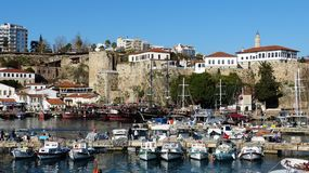 Roman harbour and old town walls in Kaleici historic quarter of Antalya, Turkey royalty free stock photo