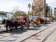 Antalya, Turkey - February 22, 2019: Row of horse-drawn carriages parked along the tram rails in downtown in Antalya stock photography