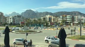 Antalya, Turkey - January, 2018: Hyperlapse view of the busy street of the modern southern city stock video footage