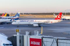 Airbus A321 from Turkish Airlines stands on airfield at airport Antalya, Turkey