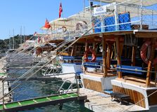 Turkish Wooden Tour Boats docked at Finike Marina Royalty Free Stock Image
