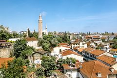 View of the mosque in the old town of Kaleici in Antalya . royalty free stock photography