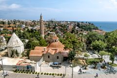 View of the mosque in the old town of Kaleici in Antalya . stock images