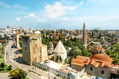 View of the mosque in the old town of Kaleici in Antalya . royalty free stock image