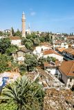 View of the mosque in the old town of Kaleici in Antalya royalty free stock images