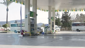 Antalya, Turkey - March 2016: automotive gasoline refueling. Vehicles of different types at a gas station run by petrol tanker car stock video