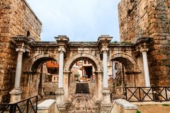 Hadrian`s Gate in old city of Antalya, Turkey. Royalty Free Stock Images