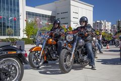 Happy driver riding Harley Davidson. Antalya, Turkey - May 21, 2017: Antalya, Harley Davidson motor convoys on the road. Festival name is Antalya Rally, Demo Royalty Free Stock Photo