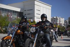 Happy driver riding Harley Davidson. Antalya, Turkey - May 21, 2017: Antalya, Harley Davidson motor convoys on the road. Festival name is Antalya Rally, Demo Stock Photos