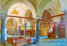 Prayer hall of Yivliminare Ulu, Alaaddin Mosque in Antalya. ANTALYA, TURKEY - MAY 12, 2017: Panorama of the prayer hall of Seljuk Alaaddin Mosque, also known as Royalty Free Stock Image