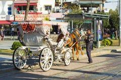 Kaleici Horse Drawn Carriage Rear View Antalya. Antalya, Turkey - November 28, 2017: Waiting driver and horse drawn carriage for tourists in Kaleici old town royalty free stock photos
