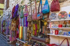 ANTALYA, TURKEY - OCT 3, 2017: Shop and goods in old town Kaleici Stock Photo