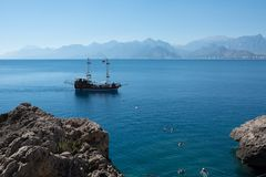 Beautiful beach near the old town of Kaleici in Antalya in Turke Stock Photo