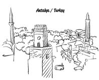 Antalya Turkey Old Town Colouring Page. Famous Destination Landmark, Hand drawn Vector Artwork Royalty Free Stock Photography