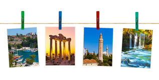 Antalya Turkey travel photography on clothespins Stock Photography