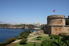 Beauty of Turkey. View of Antalya bay with old tower Royalty Free Stock Images
