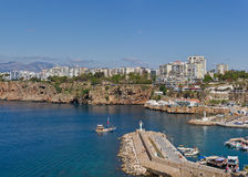 Antalya Yacht Harbour. Panoramic View of the Yacht Harbour in Antalya, Turkey Royalty Free Stock Photos