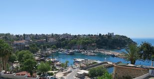 Antalyas与它美丽的港口的Oldtown Kaleici,土耳其 免版税库存图片